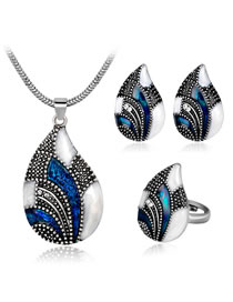 Fashion Silver Color+blue Water Drop Shape Decorated Jewelry Set ( 4 Pcs )