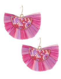 Fashion Plum Red Sector Shape Decorated Earrings