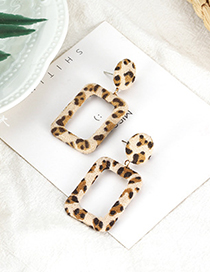 Fashion Light Coffee Leopard Pattern Decorated Earrings