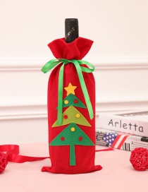 Fashion Red+green Christmas Tree Pattern Decorated Bottle Cover
