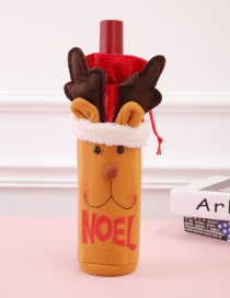 Fashion Red Elk Shape Decorated Christmas Bottle Cover
