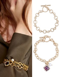 Fashion Gold Color+purple Square Shape Diamond Decorated Bracelet(2pcs)