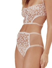 Sexy White Flowers Decorated Pure Color Briefs