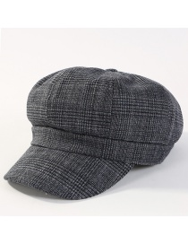 Fashion Black Grid Pattern Decorated Simple Hat