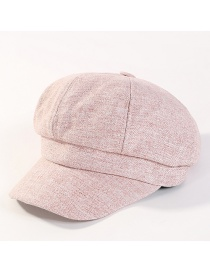 Fashion Pink Pure Color Decorated Octagonal Cap