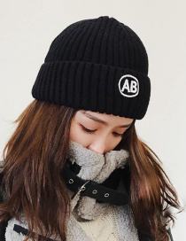 Fashion Black Embroidery Ab Decorated Knitted Hat