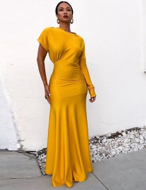 Fashion Yellow Pure Color Design Long Fishtail Dress