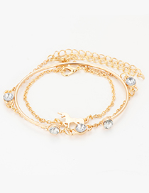 Fashion Gold Color Pure Color Decorated Bracelet (3 Pcs )