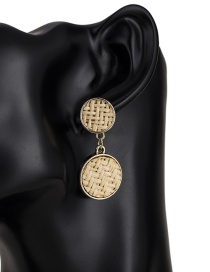 Fashion Light Brown Round Shape Decorated Earrings