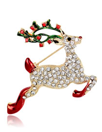 Fashion Gold Color+red Deer Shape Decorated Brooch