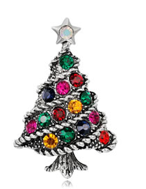 Fashion Multi-color Tree Shape Decorated Brooch