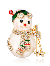 Fashion Gold Color Snowman Shape Decorated Brooch