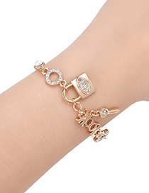 Fashion Gold Color Lock Shape Decorated Bracelet