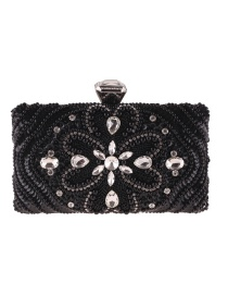 Fashion Black Square Shape Decorated Handbag