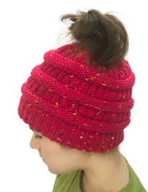 Fashion Plum Red Pure Color Decorated Hat