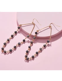 Fashion Gray Bead Decorated Earrings