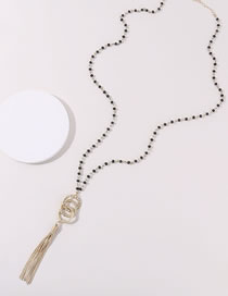 Fashion Black+gold Color Tassel Decorated Necklace