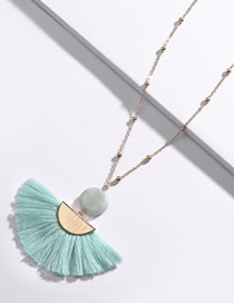 Fashion Green Sector Shape Decorated Necklace