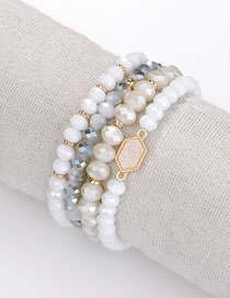 Fashion White Bead Decorated Bracelet (4 Pcs)