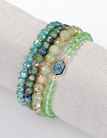Fashion Blue+green Bead Decorated Bracelet (4 Pcs)