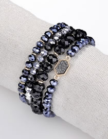 Fashion Black Bead Decorated Bracelet (4 Pcs)