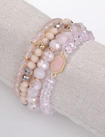 Fashion Pink Bead Decorated Bracelet (4 Pcs)