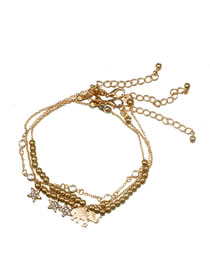Fashion Gold Color Star Shape Decorated Anklet