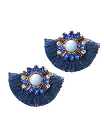 Fashion Blue Pearl&diamond Decorated Earrings