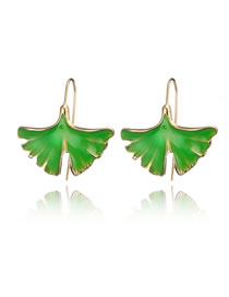 Simple Green Leaf Shape Decorated Earrings