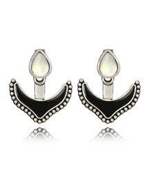 Elegant Black Anchor Shape Design Simple Earrings