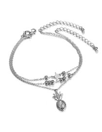 Fashion Silver Color Pineapple Pendant Decorated Simple Anklet