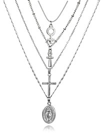 Fashion Silver Color Cross Shape Decorated Multi-layer Necklace