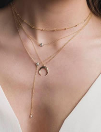 Fashion Gold Color Diamond&moon Decorated Multi-layer Choker