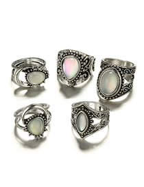 Fashion Silver Color Gemstone Decorated Hollot Out Rings(5pcs)