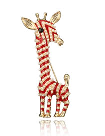 Fashion Red Giraffe Shape Design Simple Brooch