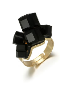 Fashion Black Geometric Shape Design Simple Ring
