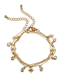 Fashion Gold Color Star Shape Decorated Multi-layer Anklet