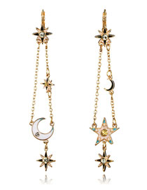 Fashion Gold Color Moon&star Decorated Long Tassel Earrings