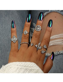 Fashion Silver Color Star Shape Design Pure Color Ring(6pcs)