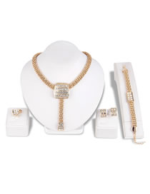 Fashion Gold Color Diamond Decorated Jewelry Set