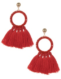 Fashion Red Circular Ring Decorated Tassel Earrings