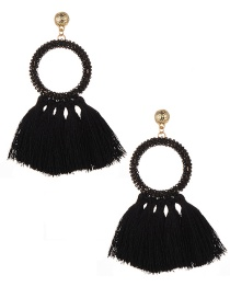 Fashion Black Circular Ring Decorated Tassel Earrings