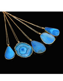 Fashion Blue Waterdrop Shape Decorated Long Necklace