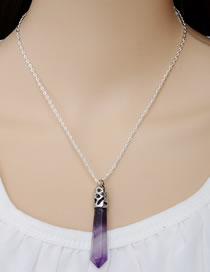 Fashion Purple Hollow Out Design Bullet Shape Necklace