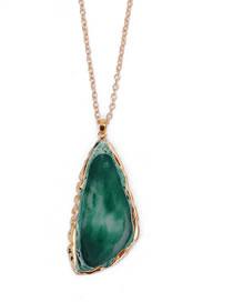 Fashion Green Triangle Shape Design Long Necklace