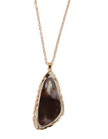 Fashion Brown Triangle Shape Design Long Necklace