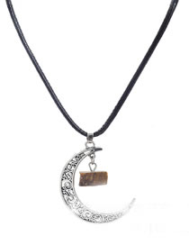 Fashion Light Brown Moon Shape Pendant Decorated Necklace