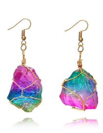 Fashion Multi-color Color Matching Decorated Earrings