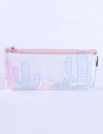 Fashion Blue+pink Cactus Pattern Decorated Pencil Case