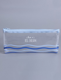 Fashion Blue+white Wave Shape Pattern Decorated Pencil Case